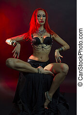 Bellydancer - Beautiful Woman in Sexy Clothing with Eastern Makeup and Oriental Jewelry , Tribal Fusion