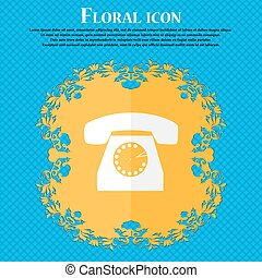 Retro telephone icon symbol. Floral flat design on a blue abstract background with place for your text. Vector