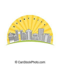 Sunny city. Logo for new modern prestigious district city....