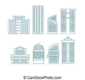 High-rise buildings. Buildings line icon set. City...