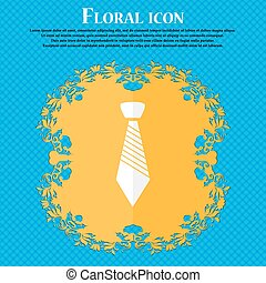 Tie sign icon. Business clothes symbol. Floral flat design on a blue abstract background with place for your text. Vector