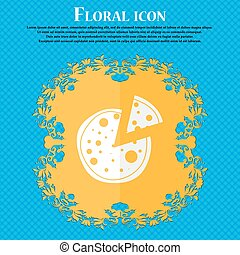 Pizza Icon. Floral flat design on a blue abstract background with place for your text. Vector