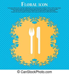 Eat sign icon. Cutlery symbol. Fork and knife. Floral flat design on a blue abstract background with place for your text. Vector