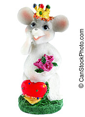 The mouse - Toy mouse with the bouquet flowers and by the...