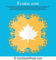 Maple leaf icon. Floral flat design on a blue abstract background with place for your text. Vector