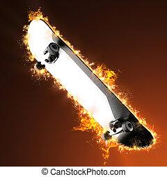 Skateboard deck in fire