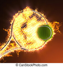 Tennis ball and racket in fire