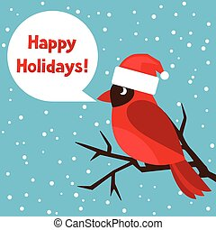 Happy holidays greeting card with bird red cardinal
