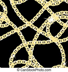 Gold Chain Jewelry Seamless Pattern Background. Vector...
