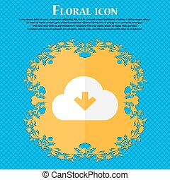 Download from cloud . Floral flat design on a blue abstract...