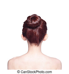 beautiful woman back view, isolated on white background,...