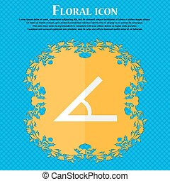Angle 45 degrees icon sign Floral flat design on a blue...