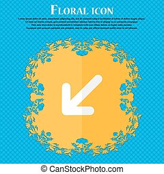 turn to full screen. Floral flat design on a blue abstract background with place for your text. Vector