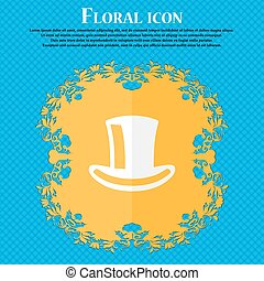 cylinder hat . Floral flat design on a blue abstract background with place for your text. Vector