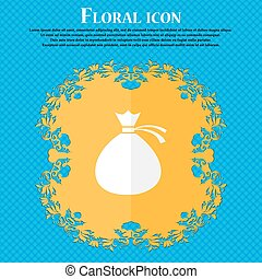 Money bag icon sign. Floral flat design on a blue abstract background with place for your text. Vector