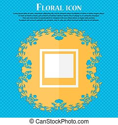 Photo frame template . Floral flat design on a blue abstract background with place for your text. Vector