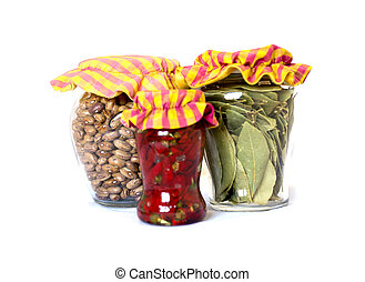 Glass jars with rustic stopper encased in cloth