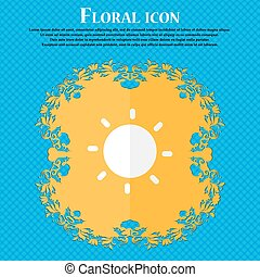 Sun . Floral flat design on a blue abstract background with place for your text. Vector