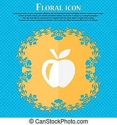 Apple . Floral flat design on a blue abstract background with place for your text. Vector