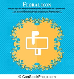 Mailbox . Floral flat design on a blue abstract background with place for your text. Vector