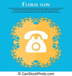 Retro telephone . Floral flat design on a blue abstract background with place for your text. Vector