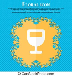 Wine glass, Alcohol drink . Floral flat design on a blue abstract background with place for your text. Vector