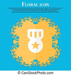 Award, Medal of Honor . Floral flat design on a blue abstract background with place for your text. Vector