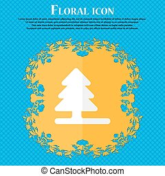 Christmas tree . Floral flat design on a blue abstract background with place for your text. Vector