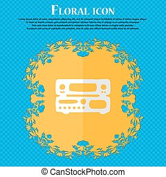 radio, receiver, amplifier. Floral flat design on a blue abstract background with place for your text. Vector