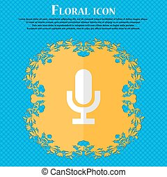 microphone. Floral flat design on a blue abstract background with place for your text. Vector