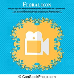 camcorder. Floral flat design on a blue abstract background with place for your text. Vector