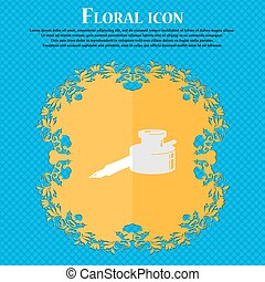 pen and ink. Floral flat design on a blue abstract background with place for your text. Vector