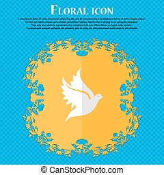 Dove. Floral flat design on a blue abstract background with place for your text. Vector