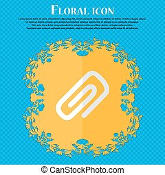 clip to paper. Floral flat design on a blue abstract background with place for your text. Vector