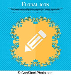 pencil icon. Floral flat design on a blue abstract...
