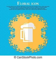 glass of beer. Floral flat design on a blue abstract background with place for your text. Vector