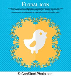 chicken, Bird Floral flat design on a blue abstract...