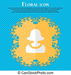 female silhouette. Floral flat design on a blue abstract background with place for your text. Vector