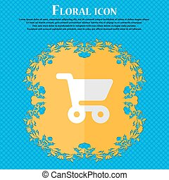 shopping basket. Floral flat design on a blue abstract background with place for your text. Vector