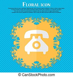 retro telephone handset. Floral flat design on a blue abstract background with place for your text. Vector