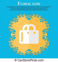 shopping bag. Floral flat design on a blue abstract background with place for your text. Vector