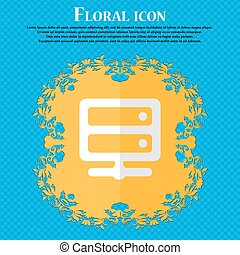 Server. Floral flat design on a blue abstract background with place for your text. Vector
