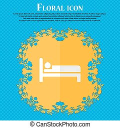 Hotel. Floral flat design on a blue abstract background with place for your text. Vector