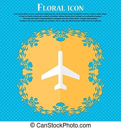 airplane. Floral flat design on a blue abstract background with place for your text. Vector