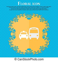 taxi. Floral flat design on a blue abstract background with place for your text. Vector