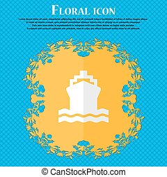 ship. Floral flat design on a blue abstract background with place for your text. Vector