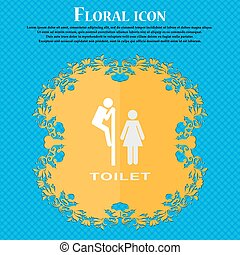 toilet. Floral flat design on a blue abstract background with place for your text. Vector