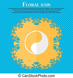 Yin Yang. Floral flat design on a blue abstract background with place for your text. Vector