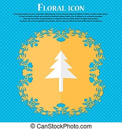 Christmas tree. Floral flat design on a blue abstract background with place for your text. Vector