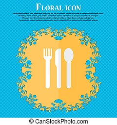 fork, knife, spoon. Floral flat design on a blue abstract background with place for your text. Vector